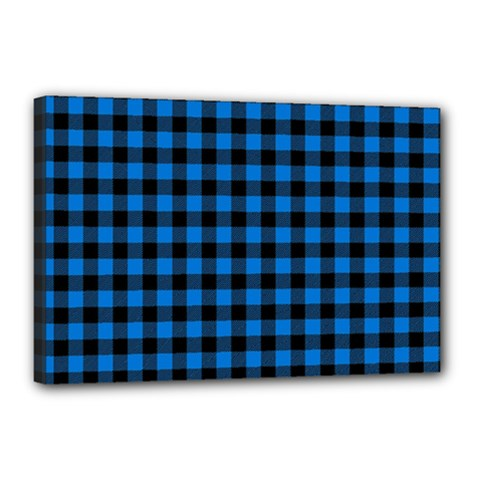 Lumberjack Fabric Pattern Blue Black Canvas 18  X 12  by EDDArt