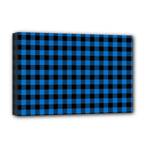 Lumberjack Fabric Pattern Blue Black Deluxe Canvas 18  X 12   by EDDArt