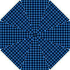 Lumberjack Fabric Pattern Blue Black Hook Handle Umbrellas (small) by EDDArt