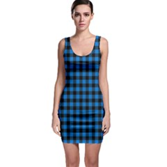 Lumberjack Fabric Pattern Blue Black Sleeveless Bodycon Dress by EDDArt