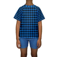 Lumberjack Fabric Pattern Blue Black Kids  Short Sleeve Swimwear by EDDArt