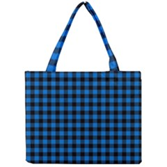 Lumberjack Fabric Pattern Blue Black Mini Tote Bag by EDDArt