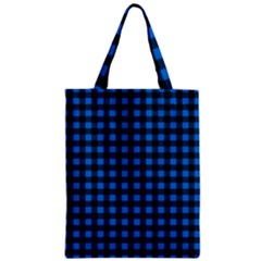 Lumberjack Fabric Pattern Blue Black Classic Tote Bag by EDDArt
