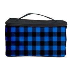 Lumberjack Fabric Pattern Blue Black Cosmetic Storage Case by EDDArt
