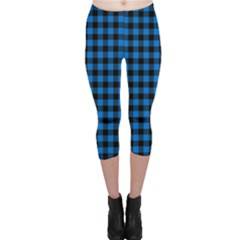 Lumberjack Fabric Pattern Blue Black Capri Leggings  by EDDArt