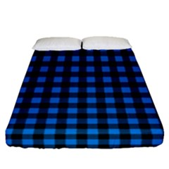 Lumberjack Fabric Pattern Blue Black Fitted Sheet (queen Size) by EDDArt