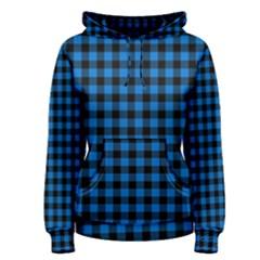 Lumberjack Fabric Pattern Blue Black Women s Pullover Hoodie by EDDArt