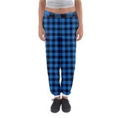 Lumberjack Fabric Pattern Blue Black Women s Jogger Sweatpants by EDDArt