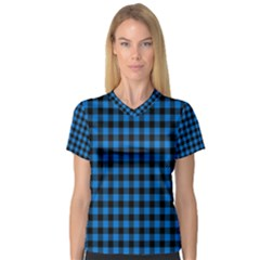 Lumberjack Fabric Pattern Blue Black Women s V Neck Sport Mesh Tee by EDDArt