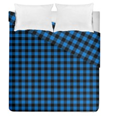 Lumberjack Fabric Pattern Blue Black Duvet Cover Double Side (queen Size) by EDDArt