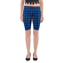 Lumberjack Fabric Pattern Blue Black Yoga Cropped Leggings by EDDArt