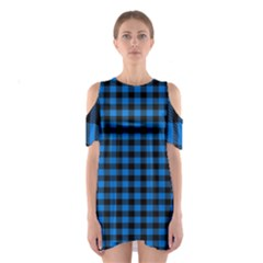 Lumberjack Fabric Pattern Blue Black Shoulder Cutout One Piece by EDDArt