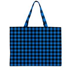 Lumberjack Fabric Pattern Blue Black Zipper Large Tote Bag by EDDArt