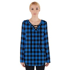 Lumberjack Fabric Pattern Blue Black Women s Tie Up Tee by EDDArt