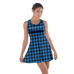 Lumberjack Fabric Pattern Blue Black Cotton Racerback Dress by EDDArt