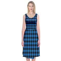 Lumberjack Fabric Pattern Blue Black Midi Sleeveless Dress by EDDArt