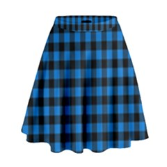 Lumberjack Fabric Pattern Blue Black High Waist Skirt by EDDArt
