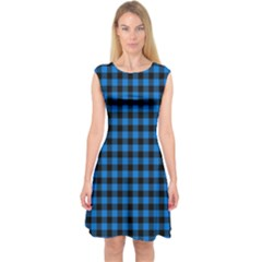 Lumberjack Fabric Pattern Blue Black Capsleeve Midi Dress by EDDArt