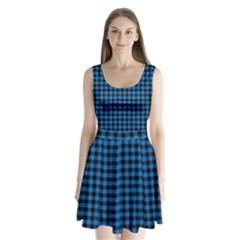 Lumberjack Fabric Pattern Blue Black Split Back Mini Dress  by EDDArt