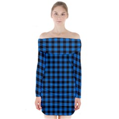 Lumberjack Fabric Pattern Blue Black Long Sleeve Off Shoulder Dress by EDDArt