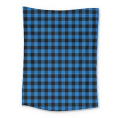 Lumberjack Fabric Pattern Blue Black Medium Tapestry by EDDArt