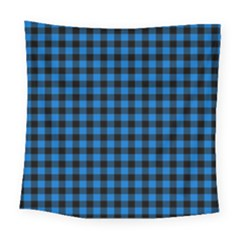 Lumberjack Fabric Pattern Blue Black Square Tapestry (large) by EDDArt