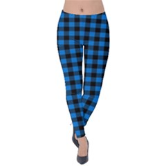 Lumberjack Fabric Pattern Blue Black Velvet Leggings by EDDArt