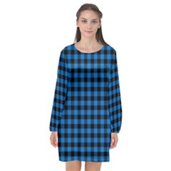Lumberjack Fabric Pattern Blue Black Long Sleeve Chiffon Shift Dress  by EDDArt