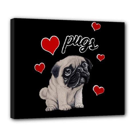 Love Pugs Deluxe Canvas 24  X 20   by Valentinaart