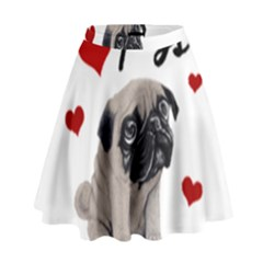 Love Pugs High Waist Skirt by Valentinaart