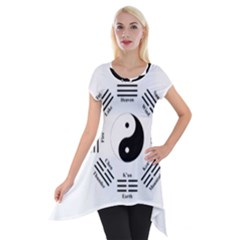 I ching  Short Sleeve Side Drop Tunic