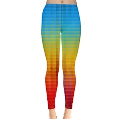 Blurred Color Pixels Leggings  by Vayuart
