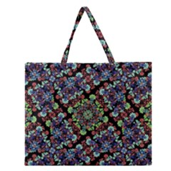 Colorful Floral Collage Pattern Zipper Large Tote Bag by dflcprints