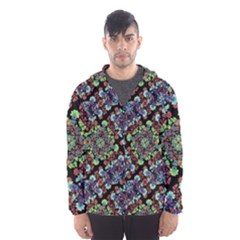 Colorful Floral Collage Pattern Hooded Wind Breaker (men) by dflcprintsclothing