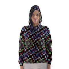 Colorful Floral Collage Pattern Hooded Wind Breaker (women) by dflcprintsclothing