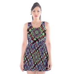 Colorful Floral Collage Pattern Scoop Neck Skater Dress by dflcprintsclothing
