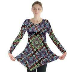 Colorful Floral Collage Pattern Long Sleeve Tunic  by dflcprintsclothing