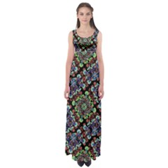 Colorful Floral Collage Pattern Empire Waist Maxi Dress by dflcprintsclothing