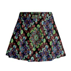 Colorful Floral Collage Pattern Mini Flare Skirt by dflcprintsclothing