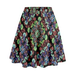 Colorful Floral Collage Pattern High Waist Skirt by dflcprintsclothing