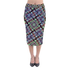 Colorful Floral Collage Pattern Velvet Midi Pencil Skirt by dflcprintsclothing