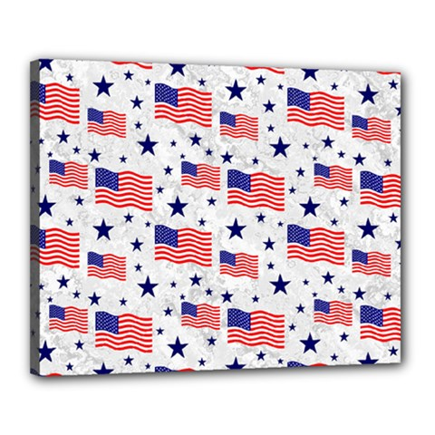 Flag Of The Usa Pattern Canvas 20  X 16  by EDDArt