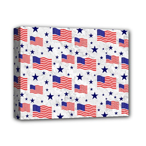 Flag Of The Usa Pattern Deluxe Canvas 14  X 11  by EDDArt