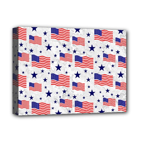 Flag Of The Usa Pattern Deluxe Canvas 16  X 12   by EDDArt