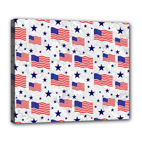 Flag Of The Usa Pattern Deluxe Canvas 24  X 20   by EDDArt