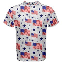 Flag Of The Usa Pattern Men s Cotton Tee by EDDArt