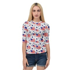 Flag Of The Usa Pattern Quarter Sleeve Tee by EDDArt