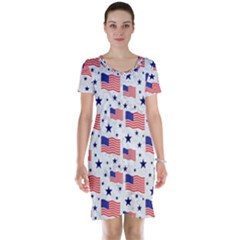 Flag Of The Usa Pattern Short Sleeve Nightdress by EDDArt