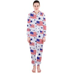 Flag Of The Usa Pattern Hooded Jumpsuit (ladies)  by EDDArt