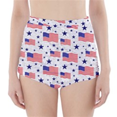 Flag Of The Usa Pattern High Waisted Bikini Bottoms by EDDArt
